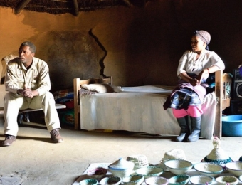 Wilson in Basotho Village HUt